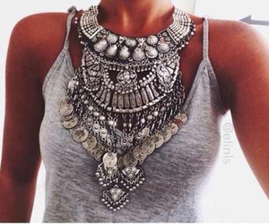 fashion, necklace, and grey image