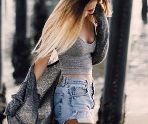 girl, ombre, and shorts image