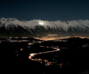 mountains, city, and light image