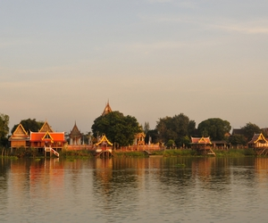 riverside, sunset, and thailand image