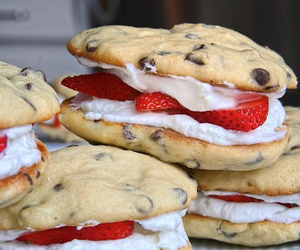 Cookies, red, and whipped cream image