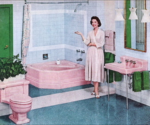 1950s, bathroom, and blue image