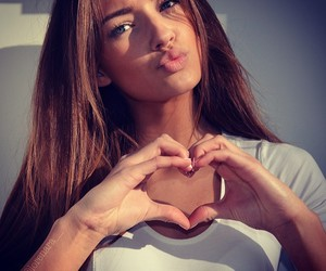 girl, heart, and beauty image