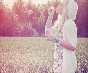 girl, bubbles, and nature image