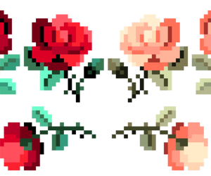 flowers, rose, and pixel image