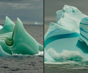 meltwater, organic matter dissolved, and jade and striped icebergs image