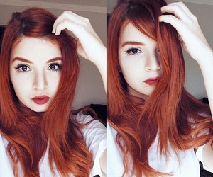 beautiful, girl, and red image