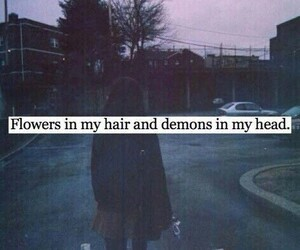 demon, flowers, and grunge image