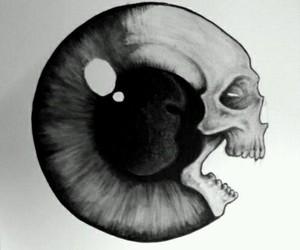 eye, skull, and art image