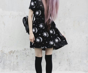 beautiful, dress, and moon image