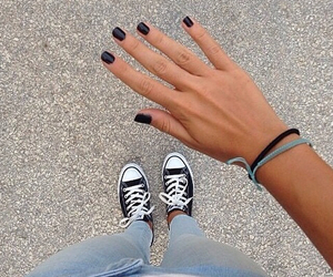 converse, nails, and black image