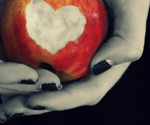 apple, black nails, and heart image