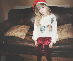 christmas, couch, and blonde image