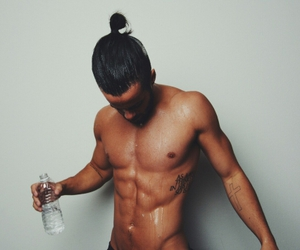 handsome, muscles, and man bun image