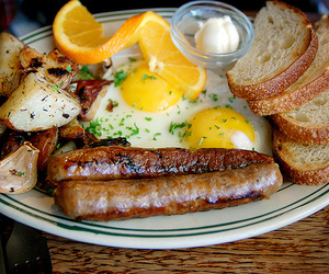 food, breakfast, and sausage image