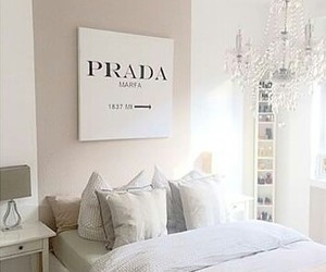 Prada, room, and bedroom image