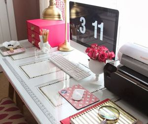 desk, pink, and room image