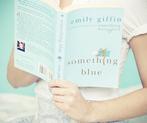 blue, book, and girl image