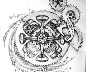 black, drawing, and gears image