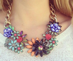 necklace, flowers, and girl image