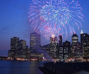 light, city, and fireworks image