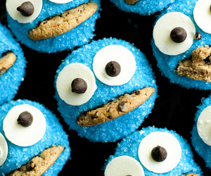 cookie monster, cupcake, and food image