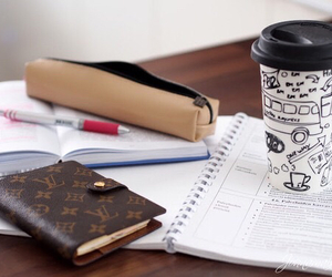 Louis Vuitton, coffee, and school image