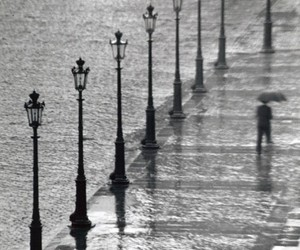 rain, black and white, and street image