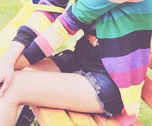 bench, girl, and rainbow image