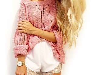 pink, sweater, and swater image