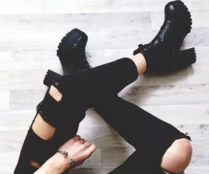 black, boots, and classy image