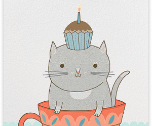 cat, birthday, and birthday card image