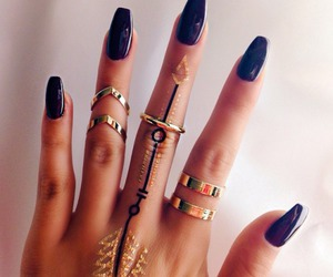nails, rings, and black image