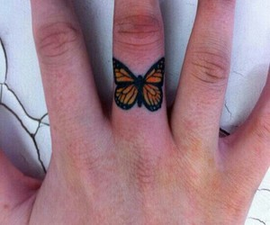 butterfly, tattoo, and finger image