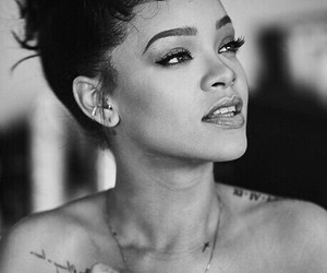 rihanna, black and white, and riri image
