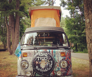 car, hippie, and on the road image