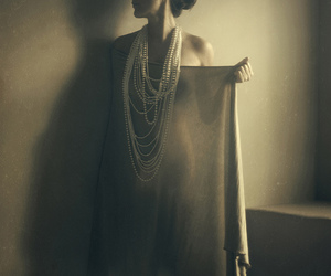 brown, pearls, and fabric image