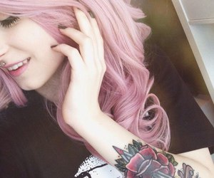 girl, tattoo, and pink image