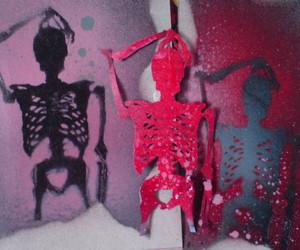 art, skull, and spray image