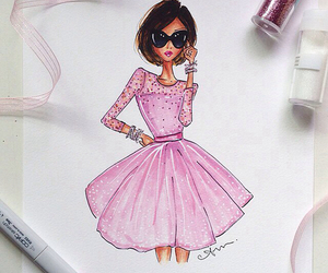 pink, fashion, and drawing image