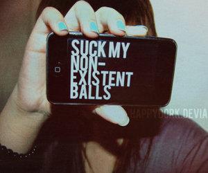 balls, sucks, and text image