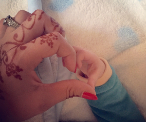 baby, henna, and desi image