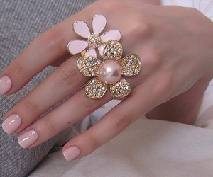 flowers, nails, and ring image
