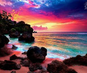 beach, sea, and sunset image