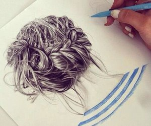 hair, drawing, and draw image