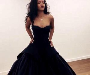 rihanna, dress, and black image