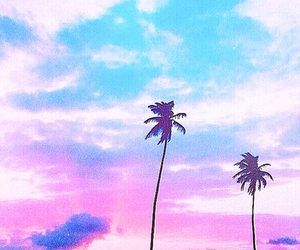 blue, clouds, and palm tree image