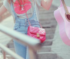 girl, pink, and guitar image