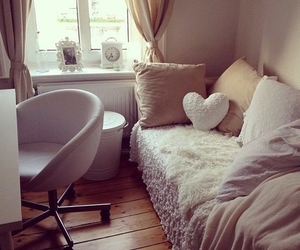 bed, white, and window image