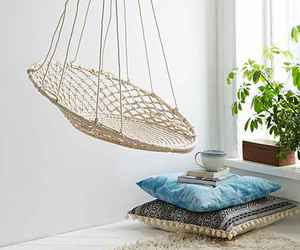 hanging chair, interior design, and interior image